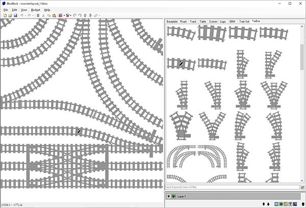 Screenshot of the bluebrick program in which you can design LEGO train layouts.